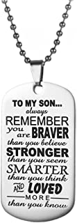 WMAO to My Son Gifts Always Remember to My Son Dog Tag from Dad Mens Boys Necklace Military Chain Air Force Pendant Thanksgiving and Child Birthday Best Souvenirs