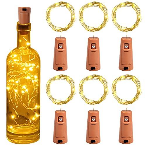Luz de Botella, Yizhet 6 Piezas Luces para Botellas Luz Botella Corcho LED Luces Botellas de Vino 2m 20 LED Guirnaldas Pilas Luminosas Decorativas Luz para Boda Navidad Fiesta Jardín (Blanco Cálido)