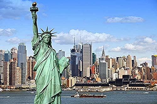WXLSL Puzzles USA Häuser Freiheitsstatue New York City 1000 Stück Erwachsene Holzlandschaft Puzzles für Kinder Lernspielzeug Geschenke
