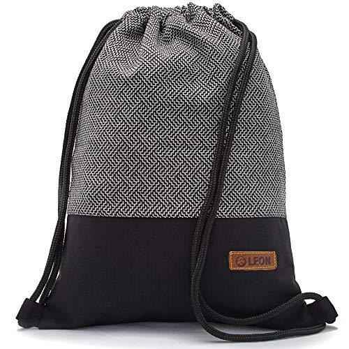 By Bers LEON Turnbeutel mit Innentaschen in Schwarz-Weiß Rucksack Tasche Damen Herren & Teenager Gym Bag Draw String (Labyr_SW)