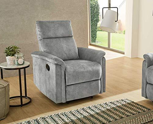 lifestyle4living Relaxsessel in Grau, Velour-Bezug, Federkern Polsterung und Wellenfedern | Perfekter Sessel für entspannte Fernseh-Abende