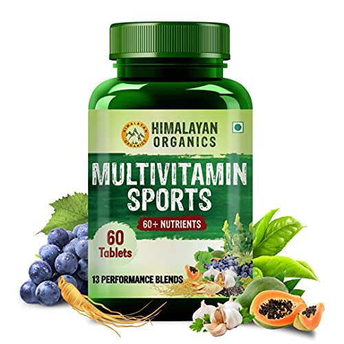 Himalayan Organics Multivitamin Sports with 60 + Vital Nutrients & 14 Performance Blends with Probiotics – 60 Tablets