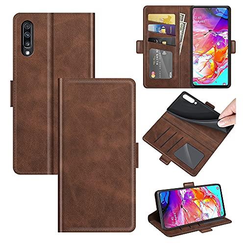 AKC Funda Compatible para Samsung Galaxy A50/A30S/A50S Carcasa Caja Case con Flip Folio Funda Cuero Premium Cover Libro Cartera Magnético Caso Tarjetero y Suporte-Marrón