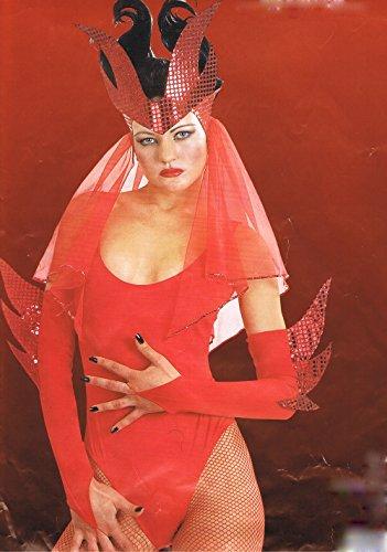 coiffure avec voile et mitaines de diablesse enflammée accessoires de deguisement halloween