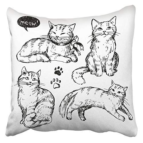 Moily Fayshow Pillowcase Throw Cushion Cover Doodle Cats Hand Drawn Cute Fluffy Sketch Vintage Kitten Realistic Line Artistic Ink 50X50 Cm