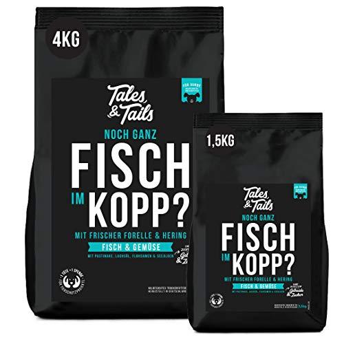 Tales&Tails Getreidefreies Trockenfutter für Hunde, 4 kg - Forelle und Hering