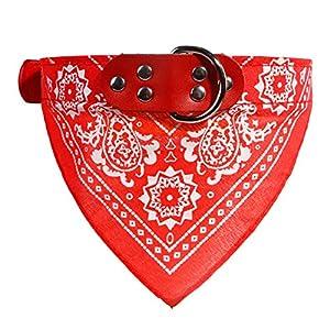 Cdet. 1pc Animal Collier en Cuir Echarpe Foulard Col Triangle Foulard Animal Collier Motif Paisley pour Mignon Chiot Animal