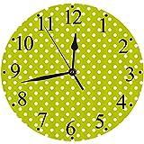 Orologio Silenzioso, Alimentato a Batteria,retrò, Vintage Vecchio Stile Anni '60 Anni '70 Ispirato a Pois Stile Pop Art Stamp,Tondo Silenzioso Preciso Wall Clock Decorazione per Casa, Ufficio