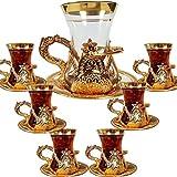 YXIAOJ Copas de té de Cristal turcas Conjunto de 6 y platillos con Mango Decoraciones de otomanos árabes for Servir y Beber Regalo for Dormir for Gold