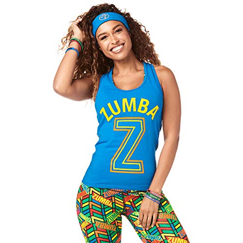 Zumba Fitness® Athletic Graphic Design Dance Workout Racerback Tank Top For Women Slim Fit, Mujer, True Blue, XL