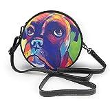 BAODANLA Bolso redondo mujer Women's Round PU Leather Crossbody Satchel Shoulder Handbag Boxer Dog Color Portrait Circle Tote Shopping Bag For Ladies Sling Bag