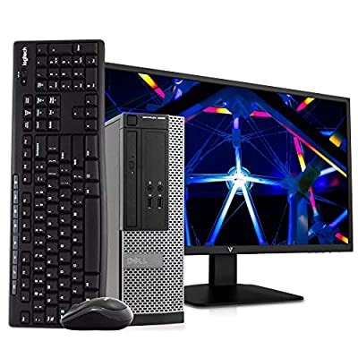 "Dell OptiPlex 3020 SFF PC Desktop Computer, Intel i5-4570, 8GB RAM 500GB HDD, Windows 10 Pro, New 23.6"" FHD V7 LED Monitor, New 16GB Flash Drive, Wireless Keyboard & Mouse, DVD, WiFi (Renewed)"