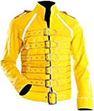 III-Fashions Freddie Mercury Queen Concert Vintage Belted Motorcycle Costume Yellow Leather Jacket