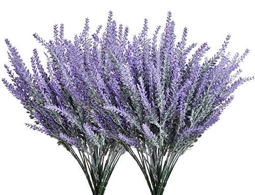 Homcomoar Artificial Lavender Flowers Bouquet 12 Bundles Plastic Purple Fake Lavender Plant for Wedding Home Decor Office Garden Patio Decoration