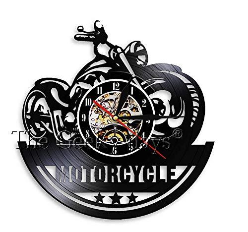 LiHiFG Reloj de Pared con Disco de Vinilo Antiguo para Ventilador de Motocicleta, Tienda de reparación de Motocicletas, Arte de Pared, decoración de Club de Motociclistas, Reloj de Motocicleta, Reloj