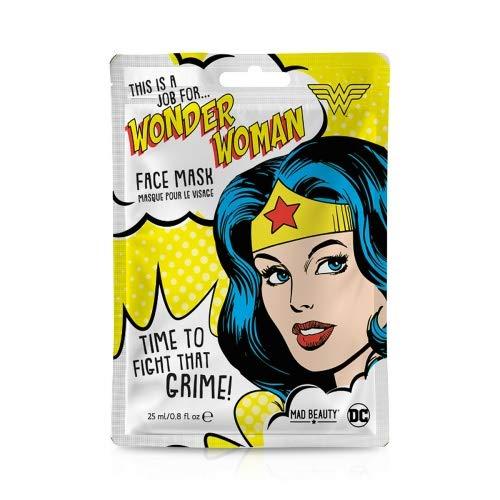 MAD Beauty DC Superhelden Gesichtsmaske Wonderwoman - feuchtigkeitsspendende & erfrischende Tuchmaske für gepflegte Haut und einen schönen Teint, 31 g