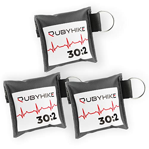 Erste-Hilfe-Schlüsselanhänger für Ersthelfer - Notfall-Set mit Beatmungstuch und Einmalhandschuhen - Hygiene für Laienhelfer - zeitloses Design für Handtasche, Rucksack, Schlüsselbund (3er-Pack)