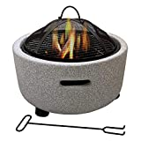 AJH Fire Bowl, brasero de leña Redondo para Exteriores, con Parrilla para Barbacoa y Pantalla de Chispa con póquer
