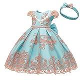 L PATTERN Vestido de Bautizo para Bebé Niña Vestido de Encaje para Niña Vestido Princesa Vestido de Ceremonia Niña Vestido de Cumpleaños Vestido de Fiesta Niña,Rosa con Azul,19-24 Meses