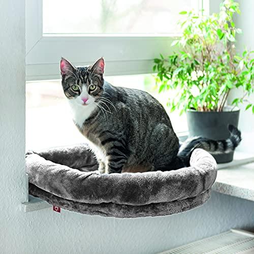 CanadianCat Company ® | LOVESEAT Fensterbett | Liegeplatz mit Polsterung | hellgrau | für die Fensterbank | Beobachtungsplatz | 55 x 47 x 7 cm | einfache Befestigung