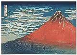 Panorama Leinwand Bild Hokusai Red Fuji Volcano 100x70cm -