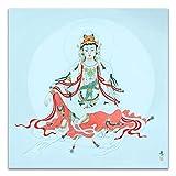 GuoQiang Zhou Avalokitesvara Bodhisattva Thangka - Lienzo decorativo para pared (70 x 70 cm), diseño de budismo
