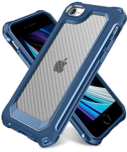 """iPhone SE 2020 Case, iPhone 8 Case, iPhone 7 Case, SUPBEC Carbon Fiber Shockproof Protective Cover with Screen Protector [x2] [Military Grade Drop Protection] [Anti Scratch&Fingerprint], 4.7"""", Blue"""
