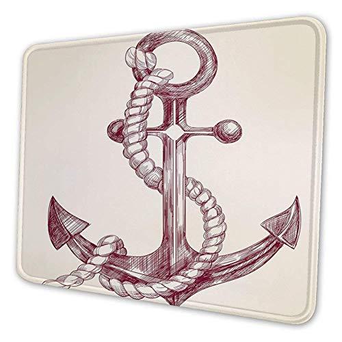 Rechthoekige Mousemat Mousepad, Realistische hand getrokken Schets Marine Vintage Ontwerp Zeilen Jacht Boot Cruise