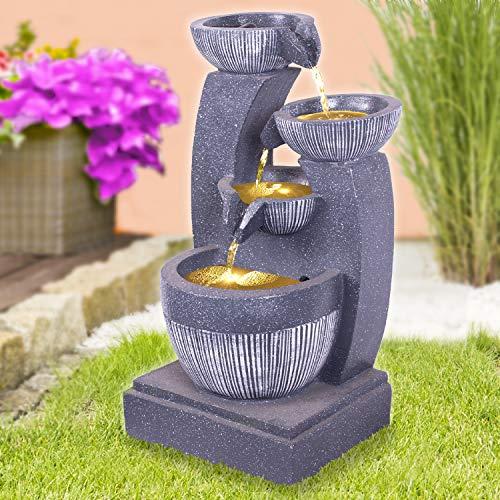 Gartenbrunnen Brunnen Zierbrunnen Zimmerbrunnen Springbrunnen Brunnen Schalen-Spiel mit LED Licht - 230V Wasserfall Wasserspiel für Garten, Gartenteich