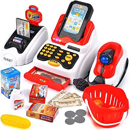 Victostar Caisse Enregistreuse Enfants, Electronique avec Scanner Simulateur de marchande Caisse de supermarché pour Enfants