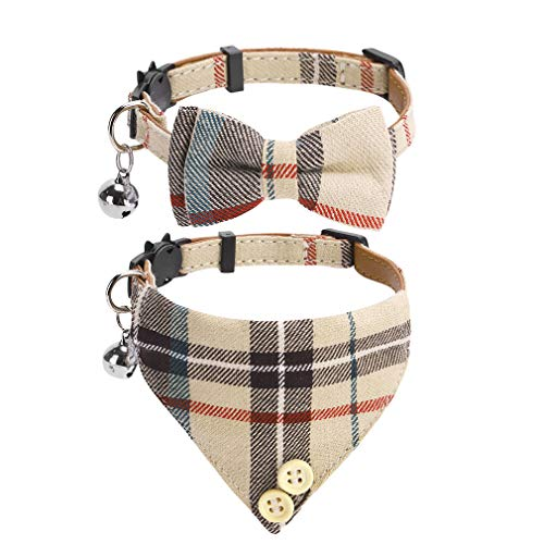 Bow Tie Cat Collar Bandana - 2 Packs Classic Plaid Check Ginham Cat Collars with Scarf and Bow Tie -...