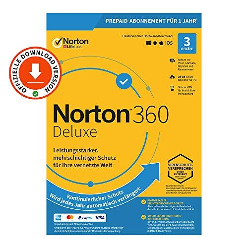 Norton 360 Deluxe 2021 | 3 Gerät| 1-Jahres-Abonnement mit Automatischer Verlängerung | Secure VPN und Passwort-Manager | PC/Mac/Android/iOS | FFP, Aktivierungscode per Email
