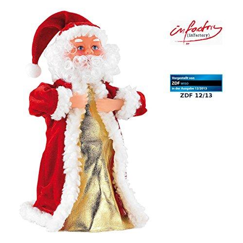 infactory Nikolaus: Singender, Tanzender Weihnachtsmann Swinging Santa, 28 cm (Tanzender Weihnachtsmann mit Musik)