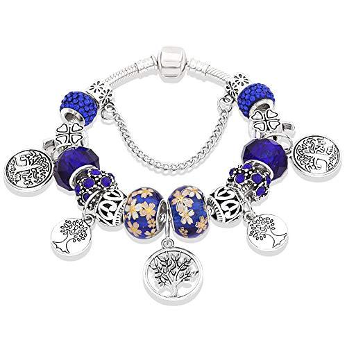 Boom Armband Kristal Groot Gat Kralen Blad Bloem Armband Dames Armband Geschikt Voor Vriendin Cadeau Royal Blue,19cm
