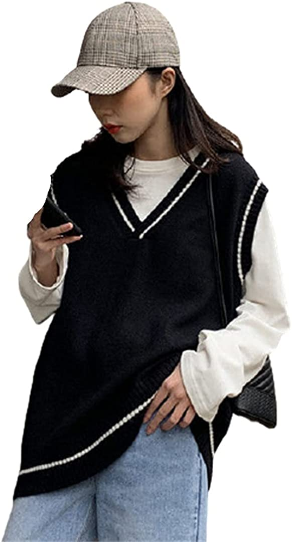 Women Patchwork Korean Style V-Neck Knitted Vest Students Vintage Sleeveless Knitted Sweater