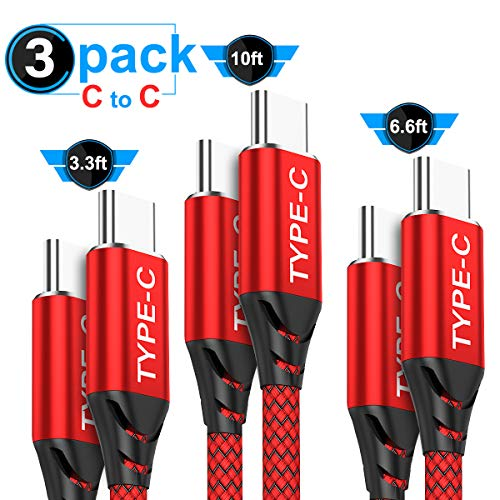 USB C to USB C Cable 3-Pack(10ft+6.6ft+3.3ft),AkoaDa USB Type C Fast Charger Cable Nylon Braided Cord Compatible with Google Pixel 4 2 3 3a XL,Nexus,iPad pro 2018,Samsung Galaxy Note 10 s20 Plus(Red)