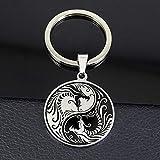 FGHHT Yin Yang Dragon KeychainLlavero Redondo de Acero Inoxidable para Hombres y Mujeres