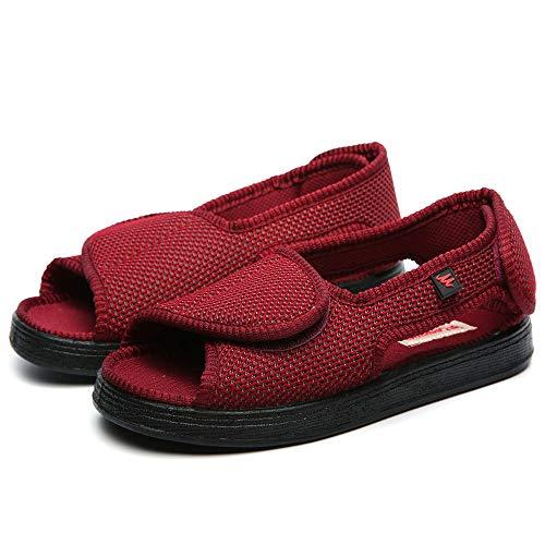 B/H Einstellbare Bequeme Diabetes Schuh,Verstellbare Freizeitschuhe mit Klettverschluss, verbreiterte Schuhe - Rotwein_35,Memory Foam Diabetic Hausschuhe