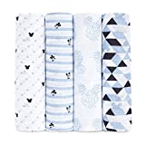 aden + anais Essentials Swaddle Blanket, Muslin Blankets for Girls & Boys, Baby Receiving Swaddles, Ideal Newborn Gifts, Unisex Infant Shower Items, Wearable Swaddling Set, 4-Pack, Mickey Mouse