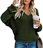 Tomwell Pull Femme Hiver Maille Col V Casual Manches Longues Chaud Pullover Sweater Top Blouse Vert 44