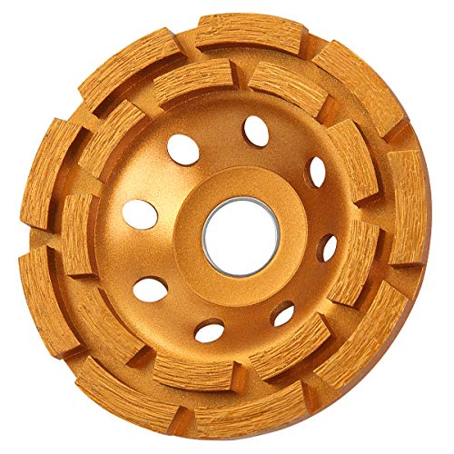 KSEIBI 644030 4-1/2-Inch Double Row Diamond Cup Grinding Wheel Gold for Angle Grinder Polishing and Cleaning Stone/Cement/Marble/Rock/Granite/Concrete