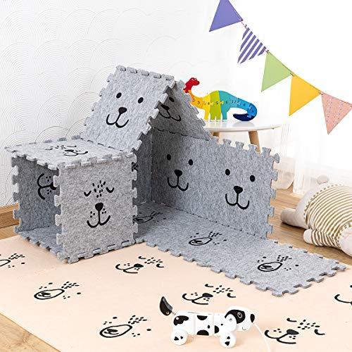 Xlabor Filz Spielmatte Baby Krabbelmatte Schutzmatten-9-er Set Antirutsch Puzzle Bodenmatte hellgrau