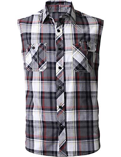 Mens Button Down Sleeveless Plaid Flannel Shirt(X-Large, 1ak01_Medium Gray)