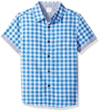 Gymboree Boys' Little Short Sleeve Woven Shirt, Sky Blue Gingham, M
