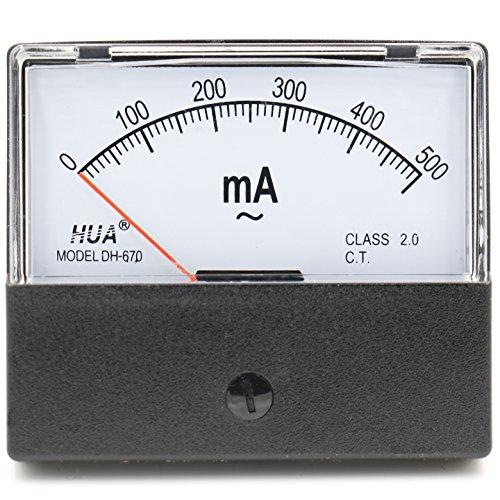 Heschen Rechteckiger Stromzähler, Amperemeter, DH-670, AC 0-500 mA, Klasse 2.0, CE-gelistet