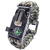 Evniset Survival Gear Kit - Paracord Bracelet with Gear Flint Fire Starter, Embedded Compass, Bottle Opener, Emergency Knife & Whistle Hiking Gear Camping, Fishing and Hunting