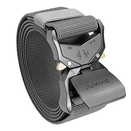 """JUKMO Tactical Belt, Military Hiking Rigger 1.5"""" Nylon Web Work Belt with Heavy Duty Quick Release Buckle (Grey, Small)"""