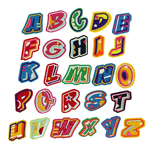 EDITHA DIY Alphabet Letter Patches Embroidered Patch Sew On Patches Applique 26Pcs