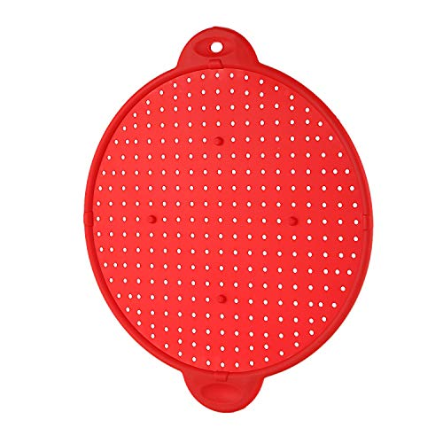 Kuinayouyi 3 In 1 Kitchen Splatter Screen Silicone Oil Splatter Guard Guard Heat Insulation Cooling Mat For Frying Pan Screen Strainer Red