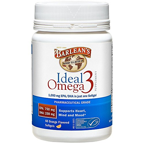 Barlean's Organic Oils Ideal Omega-3 Nutritional Supplement Softgel, 1000mg EPA/DHA, Orange Flavor, 60 Count